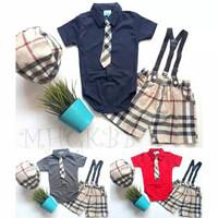 Baju Anak Bayi Laki-laki Jumper Set Dasi Burberry Peek a boo