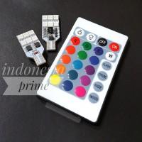 Lampu Senja 12 LED RGB T10 Warna MOBIL MOTOR 5050 SMD Remote + Baterai
