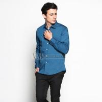 VM Kemeja Formal Polos Panjang Dark Toska Slimfit - Long Slim Shirt