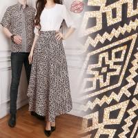 Couple Rok Lilit Maxi Payung Faria dan Kemeja Batik Pria