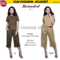 Branded Set (1 Atasan + 1 Celana) Baju Wanita CST106 - GUCCI