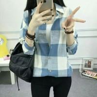 promo V KMJ KOTAKO biru muda kemeja atasan wanita kerja kantor motif