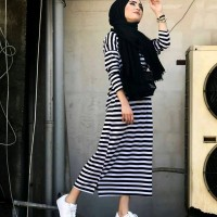 Dijual Baju Muslim Dress Wanita Beka Strip Maxi Murah