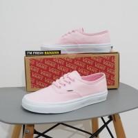 Sepatu Vans Authentic Classic Pink - Sol Putih Cewek Wanita DT Premium
