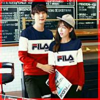 Baju Couple Lengan Panjang Couple Sweater 3 Tone Fila