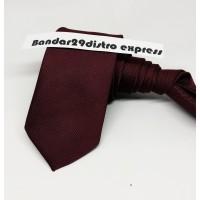 Dasi Panjang Pria Motif Salur Halus Maroon Tua / Lebar 5cm - 2 inchi