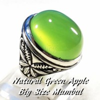 CINCIN BATU AKIK NATURAL GREEN APPLE CHALCEDONY BIG SIZE MUMBUL BOSS