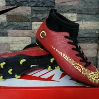 Sepatu Sepak Bola Nike Mercurial Crock High Merah Kuning Murah