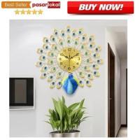 Jam Dinding Quartz Creative Design Model Burung Merak 3D 70 x 70 CM