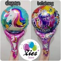 Balon foil pentungan / balon tongkat karakter unicorn