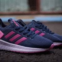 Sepatu Adidas Questar Ride / Navy Biru Pink Blue Wanita Running Gym