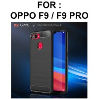 Case Oppo F9 Pro softcase casing hp carbon back cover tpu FIBER LINE - Red