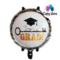Balon Foil Graduation Bulat / Balon Foil Sarjana Bulat Hitam