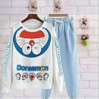 Setelan santai/stelan remaja Murah/set Doraemon/baju tidur/denim keren