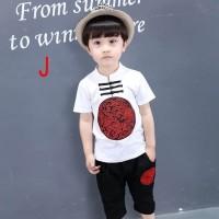 Baju Setelan Imlek Anak Laki Cowok Kemeja Cheongsam Pendek Putih Hitam