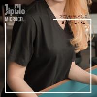 Kaos Oblong Polos 30S Wanita warna Hitam V-Neck Lengan Pendek T-Shirt