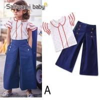 Baju Setelan Anak Perempuan Cewek Import Blus Putih Merah Kulot Denim