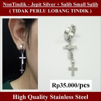 Anting NON Tindik - Jepit Silver + Salib Small Salib