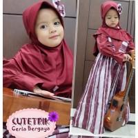 (3-7 tahun) JR 01 Baju Muslim Gamis Anak Cutetrik Jumpsuit Rok Maroon