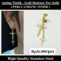 Anting Tindik Cowok Pria - Gold Skeleton Two Salib