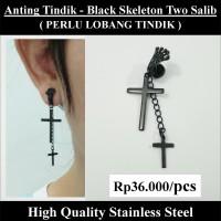 Anting Tindik Cowok Pria - Black Skeleton Two Salib