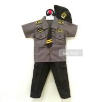 Setelan Baju Kostum Bayi Anak Cowok / Laki-Laki Profesi Polisi + Topi