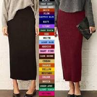 Skinny Long Skirt Rok Span Panjang Polos