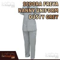 Scoora Freya Nanny Uniform Dusty Grey Baju Seragam Suster Perawat Abu