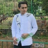 Baju Koko Muslim Pria Gamis Jasko Jas Koko Putih Bordir Emas JKH 091 - Putih, S