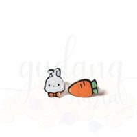 Anting Stud Mini Rabbit and Carrot Kelinci Wortel Simple Unik Lucu GH