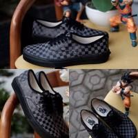 Sepatu Vans Authentic Cekerboard Black Grey Import Premium BNIB China