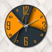Jam Dinding Kayu Dekoratif Minimalis Black Orange