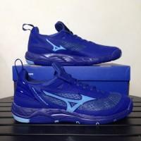 Sepatu Volly Voli Mizuno Original Wave Luminous Sodalite Biru Air Biru