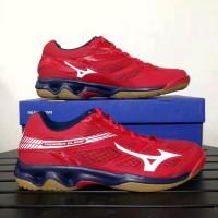 Sepatu Volly Voli Mizuno Original Thunder Blade Mars Merah Putih Dress