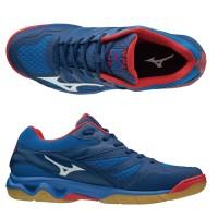 Sepatu Volly Voli Mizuno Original Thunder Blade Nautical Biru Putih Hi