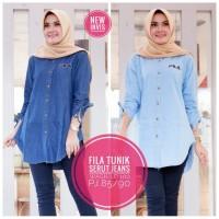 Baju wanita blouse tunik fila jeans muslim modern keren unik modis