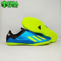 Sepatu Futsal Dewasa Adidas X 18+ Biru Hitam List Hijau Stabilo