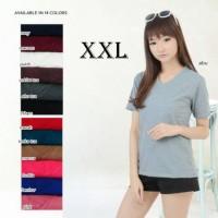 Terbaru!!! Belle Fashion Baju Atasan Kaos T-Shirt VNeck Spandex Polos