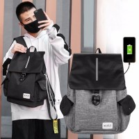77 Tas Ransel USB port charger,Smart Backpack Anti Air Anti Maling