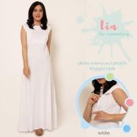 Lia White Putih Kaos Baju Menyusui Gamis kutung Busui Long Dress Hamil