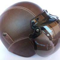 helm bogo kulit dewasa coklat