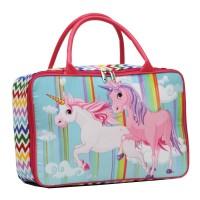 Tas JINJING Travel Bag Anak UNICORN Bahan Kanvas - Pink