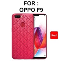 Case Oppo F9 Pro softcase casing hp back cover tpu leather grid WOVEN