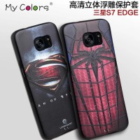 CASING SAMSUNG GALAXY S7 EDGE SILICON 3D MARVEL SOFT CASE BACK COVER