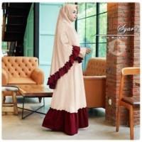 5803 set hijab syari bergo jumbo panjang krem mocca gamis khimar set