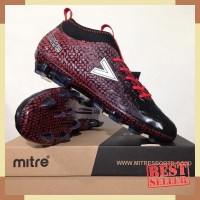 Sepatu Bola Mitre Ultimatch FG Black Silver Red T01010006 Original