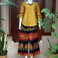 setelan ethnic sumba celana kulot blouse kain tenun jepara