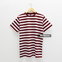Baju kaos Polos Big Maroon Kaos Garis Stripe Salur Merah Marun