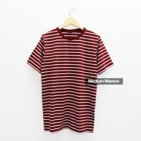 Baju Kaos Polos Stripe Medium Maroon - Kaos Garis Salur Merah Marun