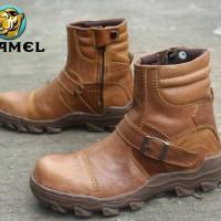 SEPATU BOOTS CAMEL ZIPPER TANPA TALI SAFETY LEATHER TAN